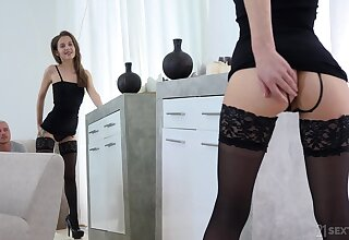 Sweet looking girl Stasia Si is making love with her underpinning fetish boyfriend