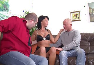 Mature German wife opens her legs to hate fucked by two dudes