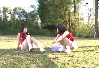 FFM threesome in into the open air with gorgeous cheerleader Yuri Shinomiya