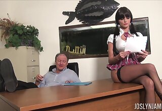Lustful college chick gets all kinds of dross on their way ancient professor