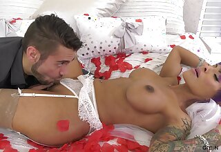 Transsexual bride TS Foxxy is making love with her interesting groom
