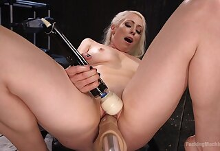 Bold blonde bombshell Lorelei Lee DP'ed wide of two fuck machines