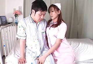 Untrained fucking between a lucky guy and Japanese nurse Emi Harukaze