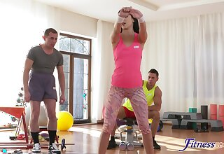 Fit brunette overused by get under one's two men in get under one's room