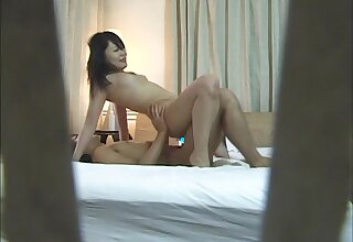 Amateur lovemaking in the evening to a slender Japanese babe