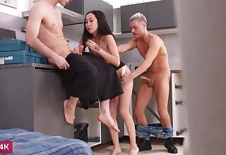 Diminutive breasted, Chinese brown-haired, Kiara Gold is having a mmf three-way with neighbors, in the kitchen