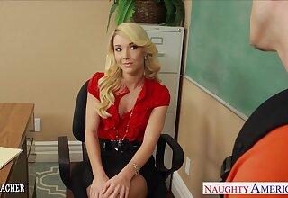 Wonderful blonde professor Laura Bentley is busy to sucking cock