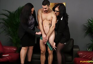 Anastasia Lux and Bluebell surrender on their knees to blow one man