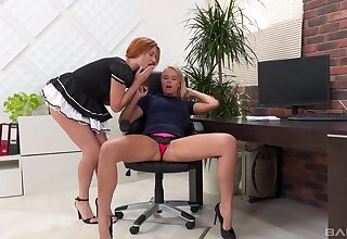 Coltish squander lesbian maid coitus featuringNikky Dream and Eva Barger