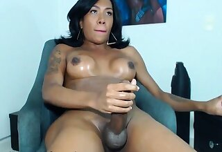 Hot Big Shafted Latina TS Jerking Off on Webcam