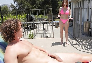 Babe in pink bikini, undressed outdoor sex by the unify
