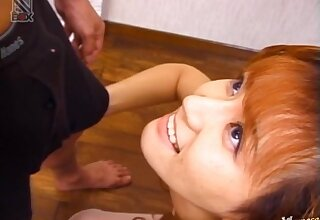 Amateur Japanese wife Fujiko Komine drops exposed to her knees to please