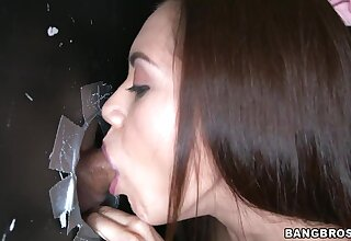 Gloryhole is the best place of slutty Sofia Lata to blow strangers