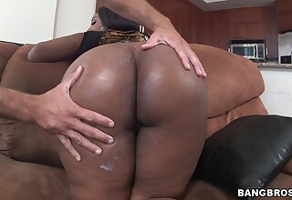 Big butt ebony Layla Monroe sucks with the addition of rides a large white gumshoe