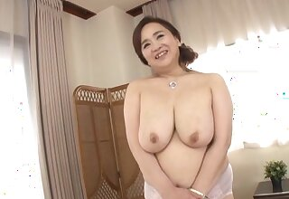 Chubby Japanese girl Hayama Nobuko drops her clothes in all directions tease