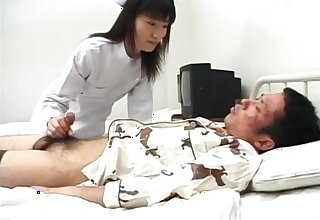 Sexy nurse Saki Budou gives a quick handjob in all directions her male patient