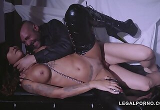 Submissive latex lover Venus Afrodita gagged, spanked & fucked by dominator GP382