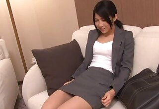 Japanese woman wearing miniskirt getting cum in mouth - Saionji Reo