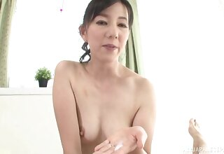 Horny Japanese girl Suou Azusa grinds on his learn of and gives a BJ