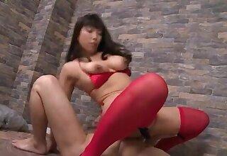 Nozomi Mikimoto wearing stockings riding a gumshoe in cowgirl