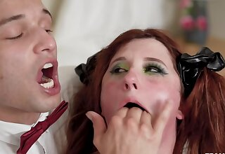 Chubby redhead MILF is being brutally deepthroated by a waiter