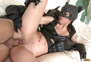 Cat woman picks up a homeless masked guy for a costumed fetish fuck
