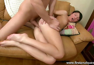 Girl gets cock in ass and load of sperm on but.