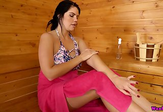 Alone horny lady Kylie K plays with twat and boobies in the sauna