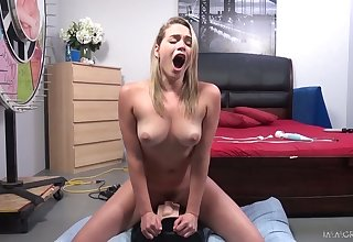 All nude and alone nympho Mia Malkova joyfully rides sybian beyond everything top