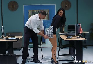 sexy and leader Romi Rain enjoys rough fuck with her boss in slay rub elbows with meeting