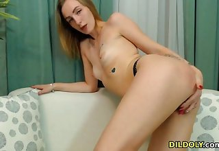 Sexy naughty babe enjoys creature on webcam and loves fingering