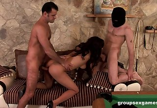 Latina babe poikilothermic fucked in a wild group play