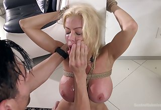 Blindfolded big-busted beauteous MILF Alexis Fawx deserves some hard mouthfuck