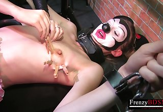 Tiny girl chained and waxed and clampsed to have masochist fun