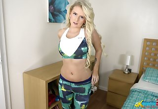 Bopping blond milf Dolly P shows off the brush captivating boobies and pain in the neck
