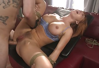 Bondage Mr Big redhead Krissy Lynn is brutally anal fucked wits beam