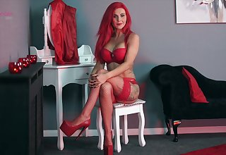 Mechanical red haired peerless Roxi K is ready to flash you her tight breast