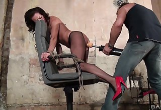 Nude prostitute in black pantyhose, severe male domination