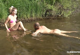 Horny blonde Mary Rock adores imprecise sex and a blowjob by the river