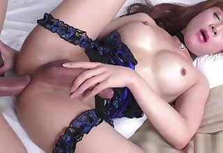 Petite Asian Tgirl Plam gets tight bore stretched in missionary hunt for