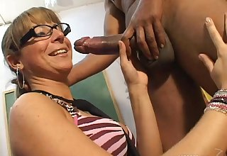 Tanlined beauteous wife with glasses gets husband's cock in her ass