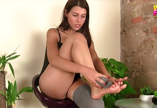 Doting brunette takes off will not hear of sexy stockings exposing will not hear of pedicured fingertips