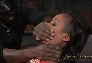 Gagged ebony gets their way outrageous master to roughly lady-love their way holes