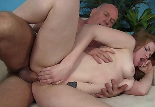 Step daddy pleases young ginger with regard to a big dick up her ass