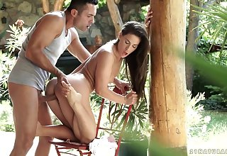 Curvy Of Love - beautiful young brunette god athina love has sex outdoors