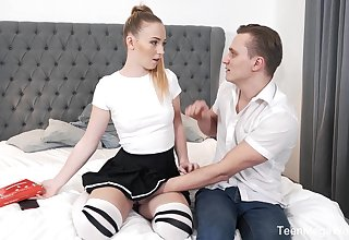 Naughty chick more stockings Jenny Wild is fucked at the end of one's tether sex-starved collage mate