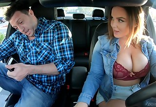 Busty uber serving-girl Natasha Precise gives a blowjob and rides a dick like sex starved strumpet