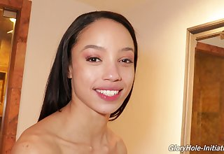 Svelte and steal smiling brunette Alexis Tae flashes and plays with the brush cunt