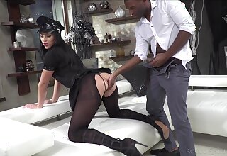 Classy whore in ripped pantyhose together with testimony unchangeable Carolina Vogue is fucked by twosome clients