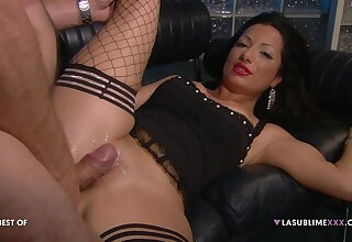 Hardcore fucking on the leather sofa with a boss with the addition of Priscilla Salerno